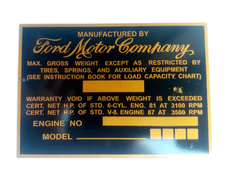 Ford Motor Company Aluminum Acid Etched Golden Data Plate - Ford Truck 1940's-1950's