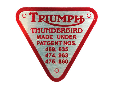 Vintage Triumph Thunderbird Timing Cover Patent Red Plate Badge