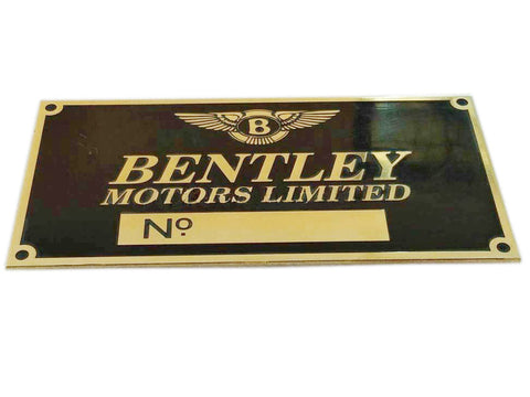 Brand New Vintage Bentley Motors Brass Black Color Number Plate /VIN Plate