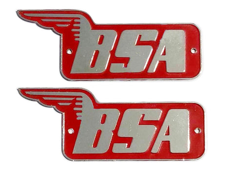 Brand New Heavy Brass Chrome Red Petrol/Fuel Tank Logo/Badge Set - BSA M20