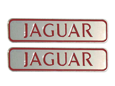 Pair of Brass Chrome Jaguar Text Silver/Red Plaque / Sign / Logo Badge