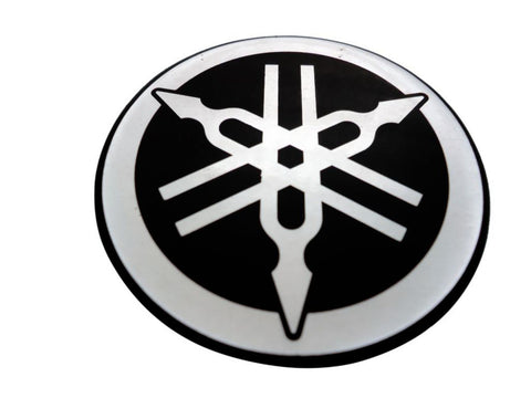 Best Quality 55mm Tuning Fork Logo Black Silver Decal Sticker - Yamaha