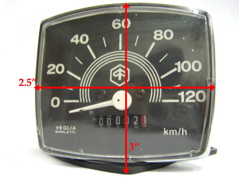 Square Black Face Speedometer 0-120 Kmh Fits Vintage, Vespa & Lambretta available at Royal Spares