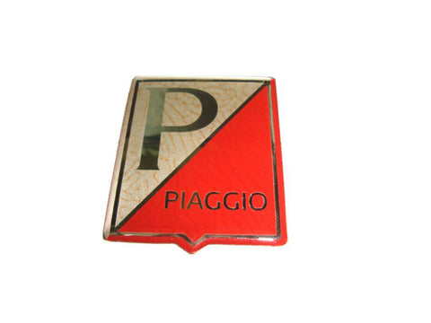High Quality Piaggio Logo Horncast Badge Golden/ Red Tone Fits Vespa available at Royal Spares