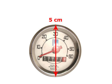 Small Frame Speedometer 0-60 Kmph Fits Vespa V50, V90 and V100 available at Royal Spares