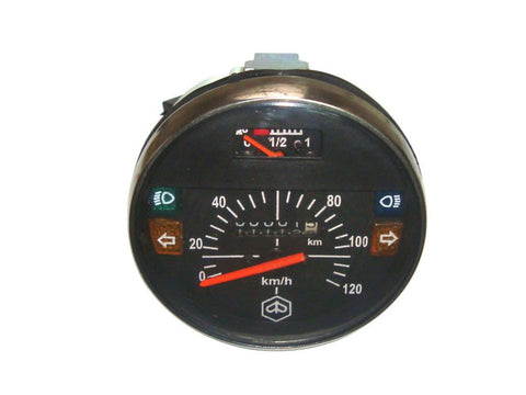 0-120 KMPH Black Face Speedometer + Fuel Gauge Fits Vespa PX available at Online at Royal Spares