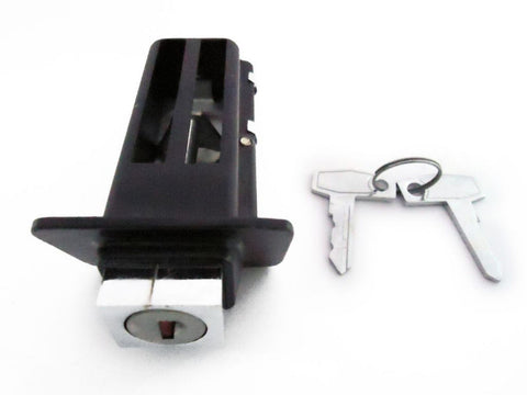 Black Seat Lock Assy For Older Style Seat - Vespa PX 150-200 Model available at Online at Royal Spares