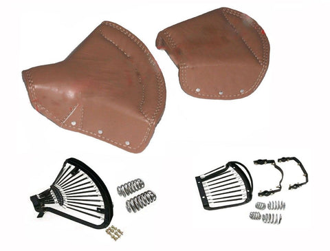 Lycett Tan Leather Complete Front & Rear Seat For Royal Enfield Ariel Triumph
