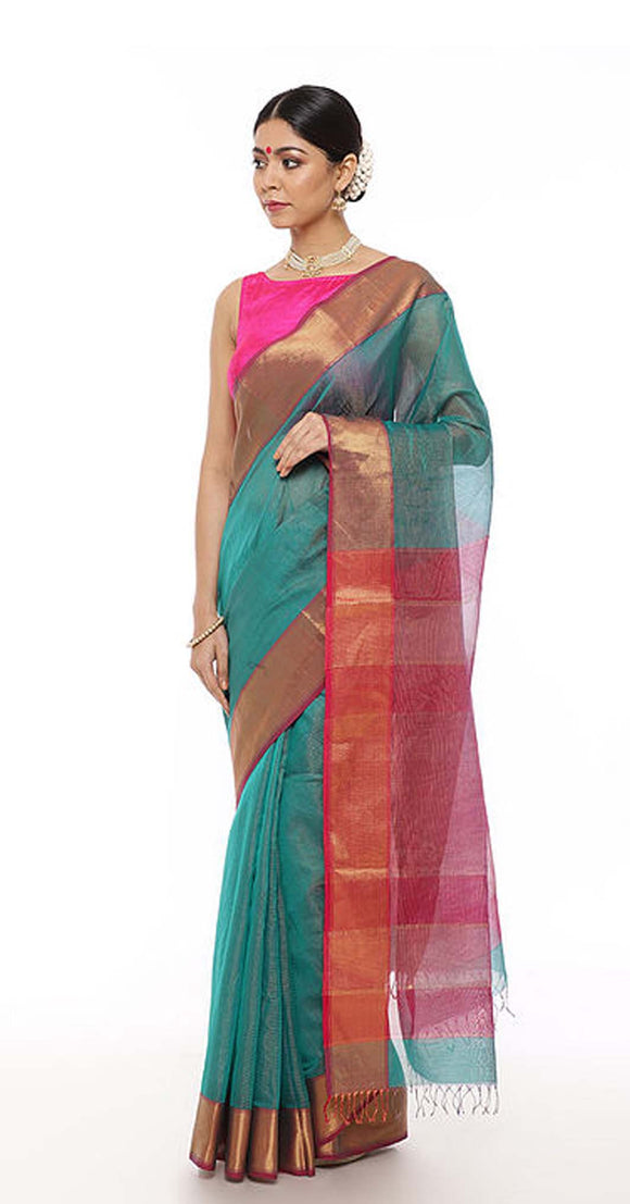 Green-Magenta Handwoven Saree