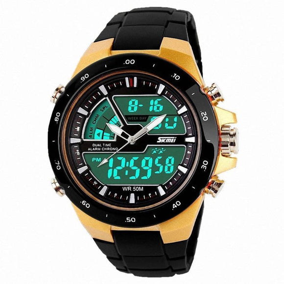 SKMEI Analog Digital Gold Watch