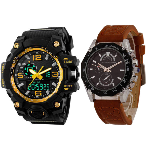 KEN Mens Combo Brown and yellow Watches