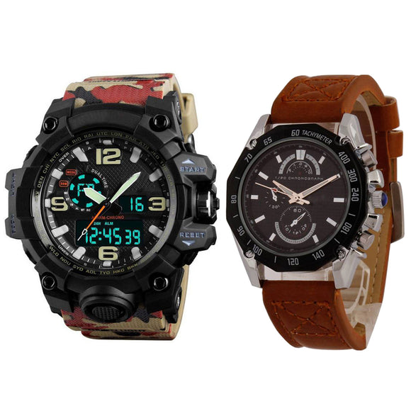 KEN Mens Brown Leather and Sports Watches