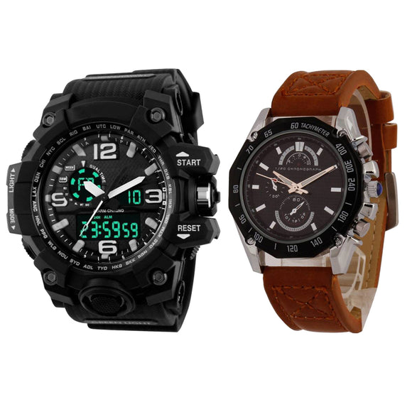 KEN Mens Combo Black and Brown Watches