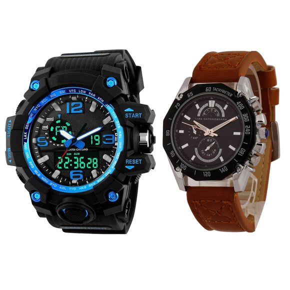 KEN Mens Combo Blue and Brown Watches