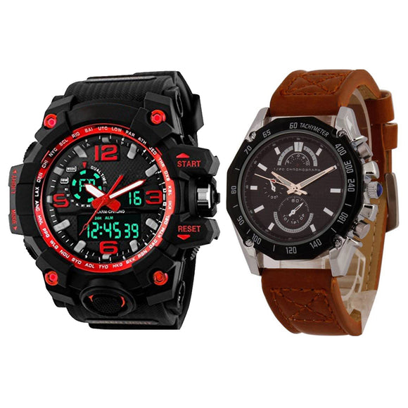 KEN Mens Combo Red and Brown Watches