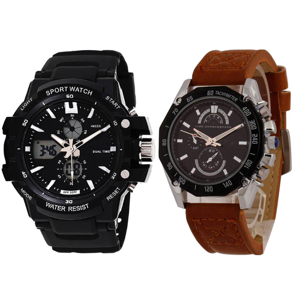 KEN Mens Combo Sports and Brown Leather Watches