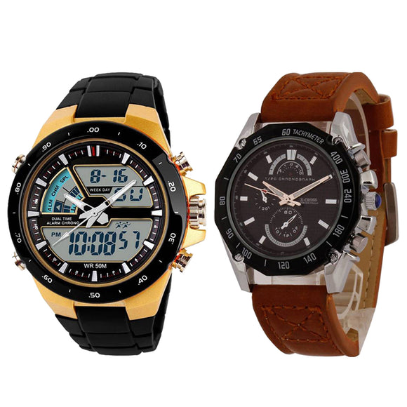 KEN Mens Combo Brown and Gold Watches
