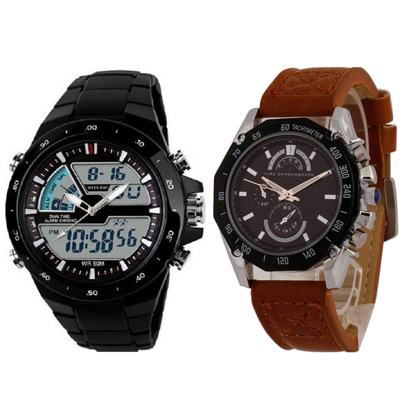 KEN Mens Combo Brown and Black Watches