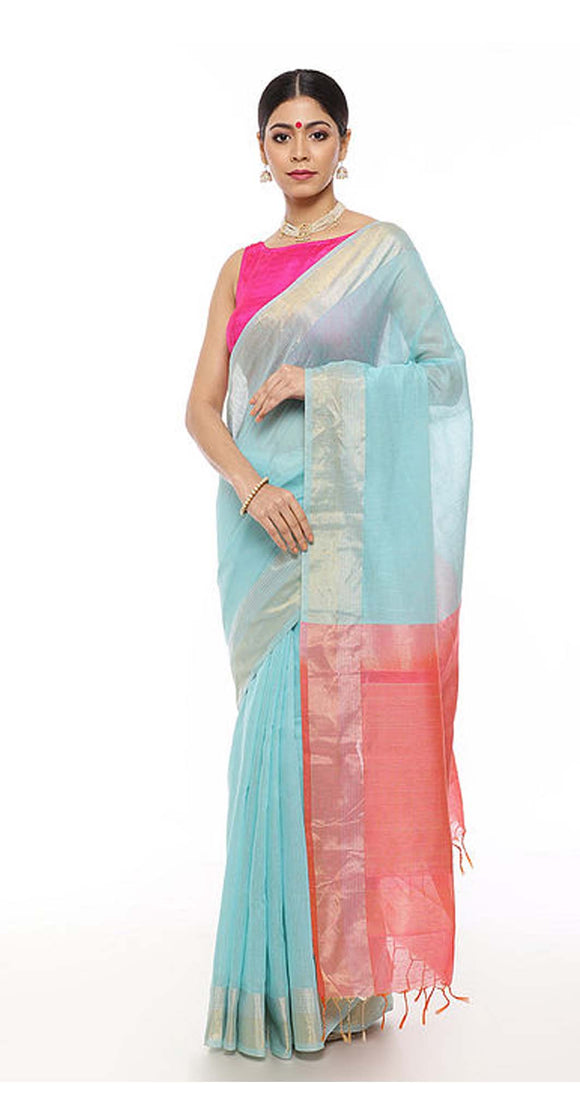 Turquoise-Pink Handwoven Linen Saree