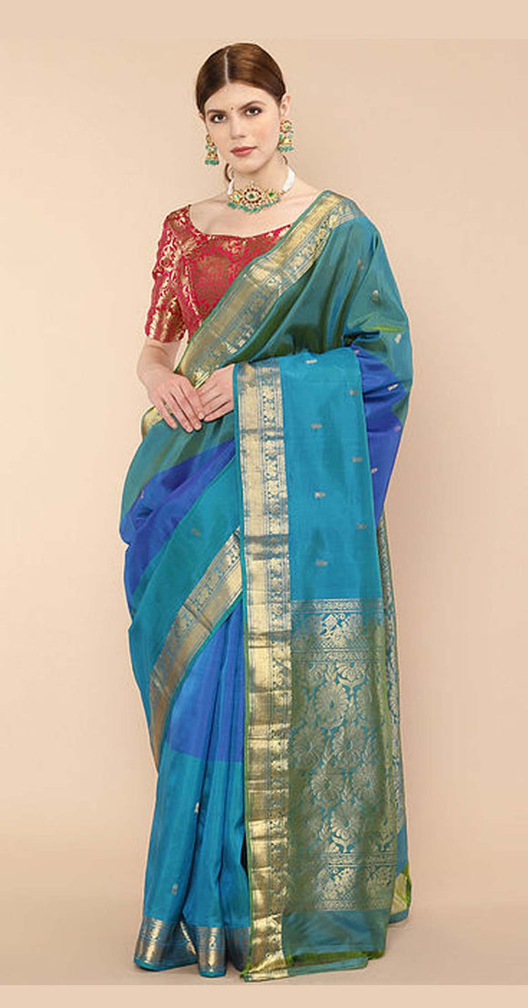 Blue Handwoven Kanjivaram Silk Saree