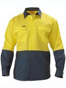 BISLEY Cotton Drill Long Sleeve ork Shirts, Orange/Navy, Yellow/Navy