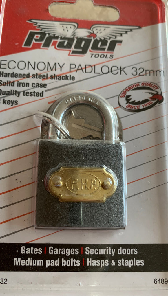 32mm Padlock with 3 Keys, Hardened Steel Shackle, Solid Iron Case