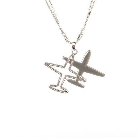 Crystal Aircraft Plane Long Pendant - Sweater Chain
