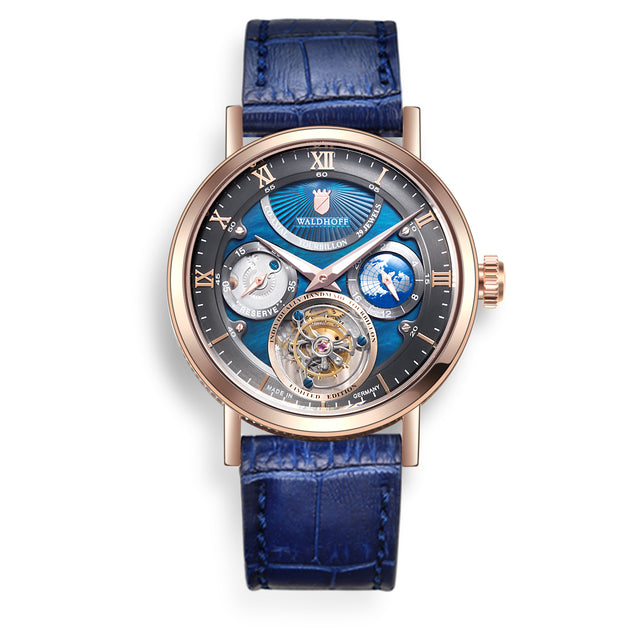 Pre-Order: Waldhoff Ultramatic Tourbillon (Rose Gold Nacre Blue)