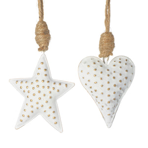White Metal Hanging Heart/ Star