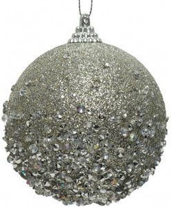 Silver Glittery Christmas Tree Bauble