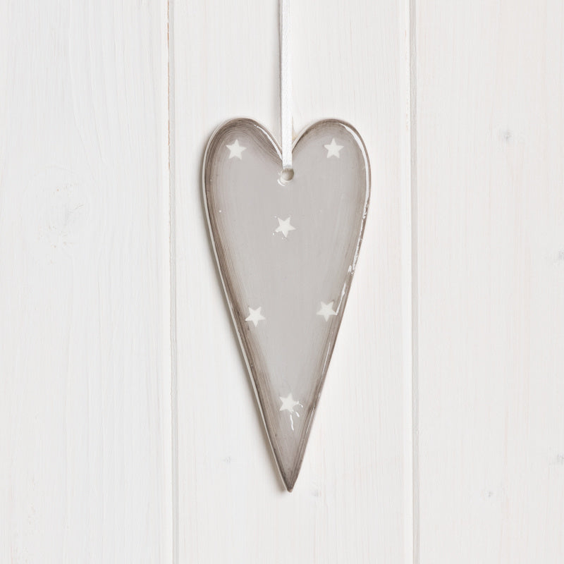 Grey Hanging Ceramic Heart, 13cm