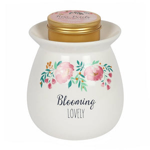 Large BLOOMING LOVELY Wax melt burner gift set