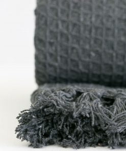 Waffle Recycled Cotton Throw in Charcoal - Medium