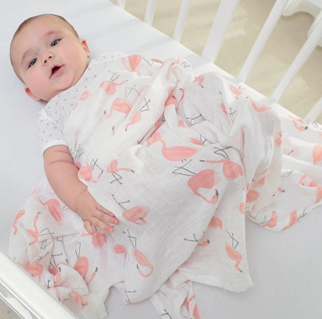 Large Muslin/ Swaddle Blanket - Flamingos