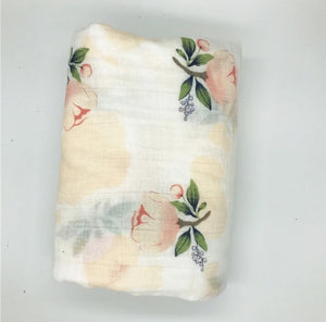 Large Muslin/ Swaddle Blanket - Peach Roses