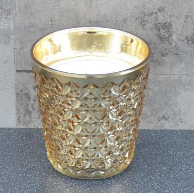 Embossed Gold Glass Wax Filled Pot Candle Prosecco Scent