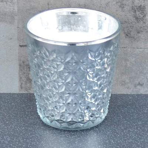 Embossed Silver Glass Wax Filled Pot Candle Hyacinth & Lily Scent