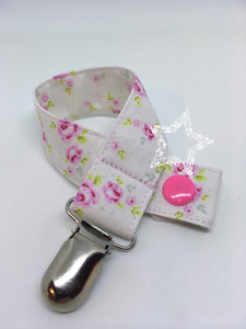 Cream Tilda Flowers Soother Clip