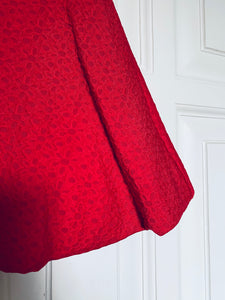 Red Flowers Jacquard Dress