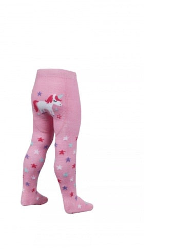 Unicorn & Stars Tights - Pink