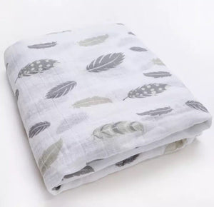 Large Muslin/ Swaddle Blanket - Feathers