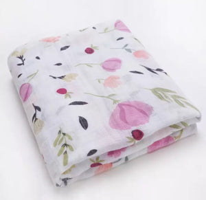 Large Muslin/ Swaddle Blanket - Pink Flowers