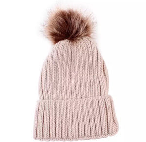 Ribbed Beanie with Fur Pom - Khaki