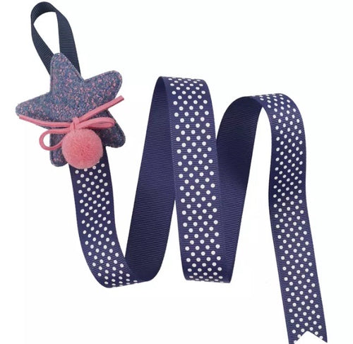 Navy Pink Hair Bow Clips Holder