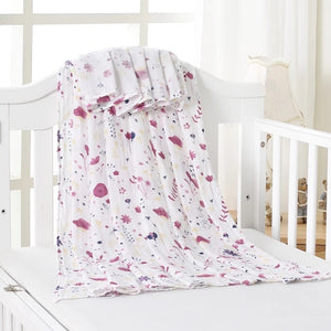 Large Muslin/ Swaddle Blanket - Lilac Flowers