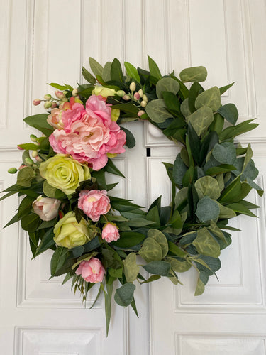 Pink Peony & Laurel Door Wreath