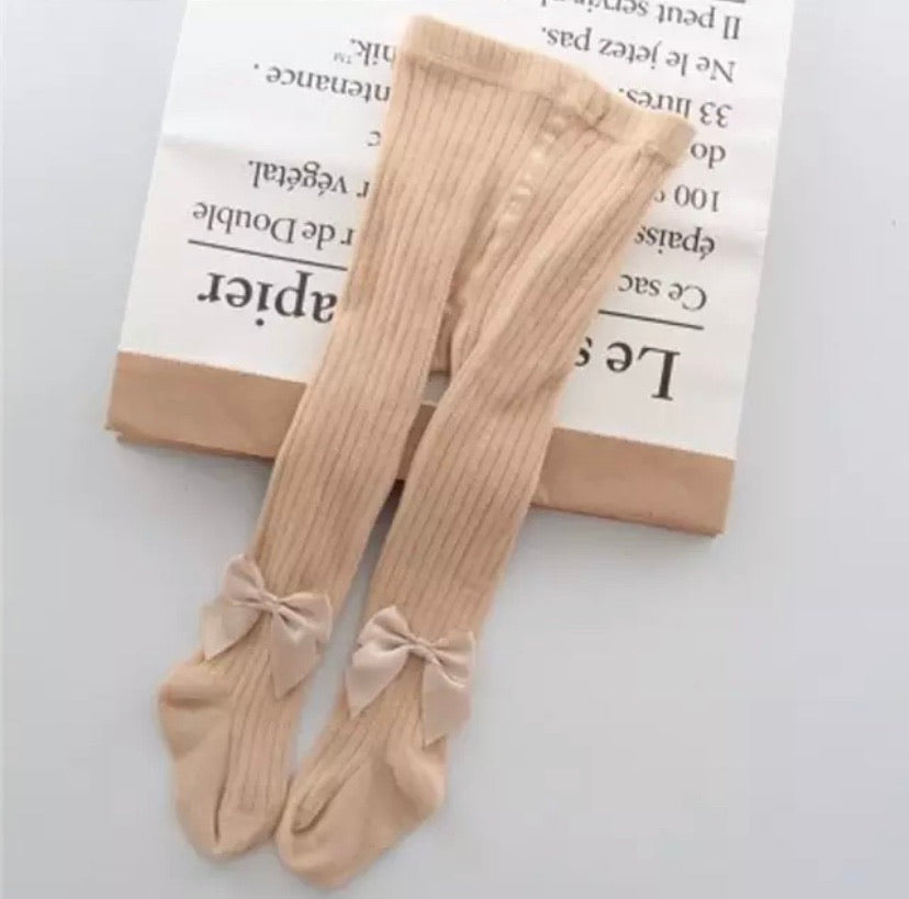 Bow Tights - Beige Sand