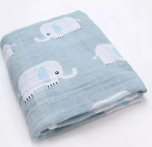 Large Muslin/ Swaddle Blanket - Elephants