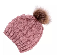 Knitted Beanie with Fur Pom