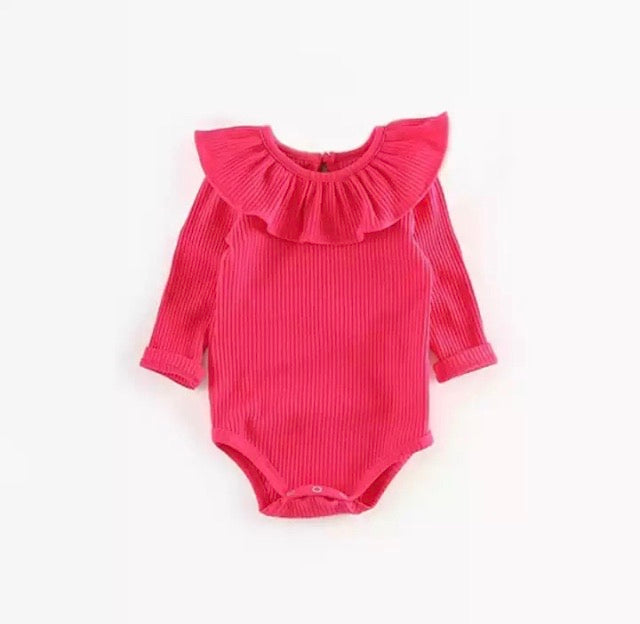 Hot Pink Ribbed Bodysuit